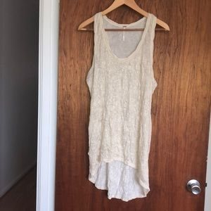 Free People high/low sleeveless shimmery shirt